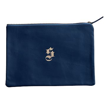 Everyday Leather Zip Pouch, Center Monogram, Navy - Personalized