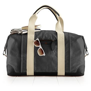 Canvas and Leather Weekender Bag, Gray and Black