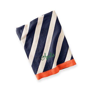 Striped Stroller Blanket, Striped, Navy and Orange