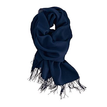 Alpaca and Silk Solid Scarf with Fringe, Navy