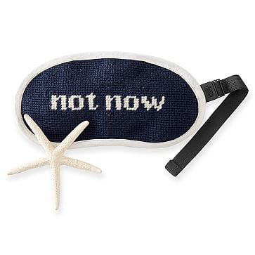 Adjustable Needlepoint Eye Mask, Not Now, Navy