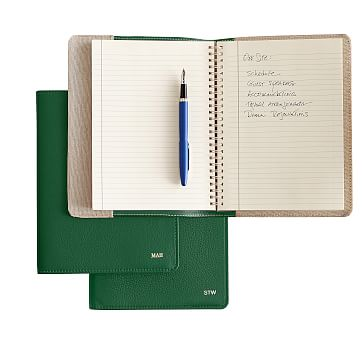 Leather Refillable Journal, Kelly Green, Cover with Insert