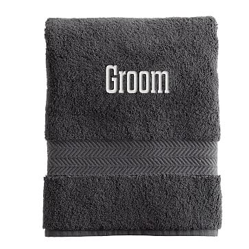 Turkish Hydro Cotton Hand Towel, Steel Gray - Personalized