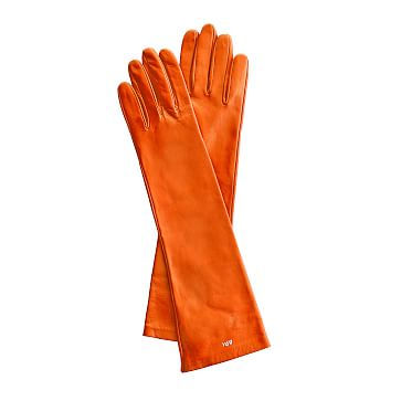 Women's Italian Leather Opera Glove, Size 6.5, Extra-Small, Orange