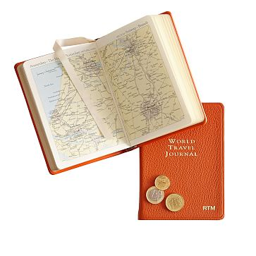 Leather-Bound Book, World Travel Journal, Orange