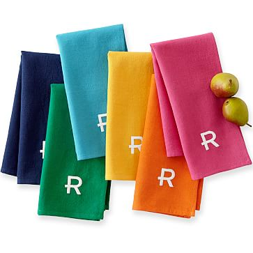 Set of 6 Multi Color Napkins, Linen, 18x18 inches