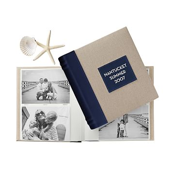 Classic Linen Photo Album, Natural with Navy