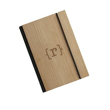 Bookbinder's Wood Paper Notebook Journal, Medium with Monogram