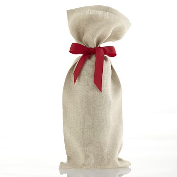 Set of 3 Linen Wine Bags with Grosgrain Tie, Red with Personalization