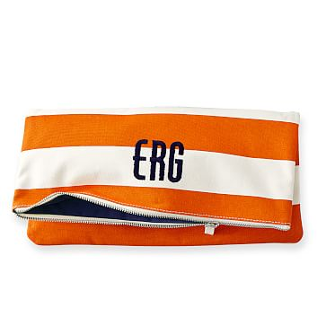 Lido Foldover Clutch, Orange with Navy
