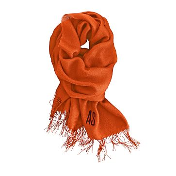 Alpaca and Silk Solid Scarf with Fringe, Orange