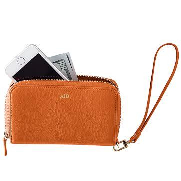 Leather Zip Wristlet Clutch Wallet, Orange