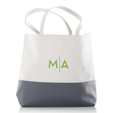 Colorfield Tote Bag, White with Gray