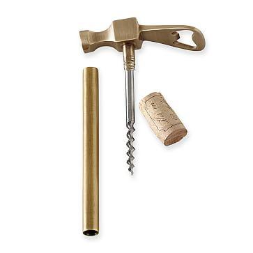 Hammer Bottle Opener and Corkscrew, Antique Brass