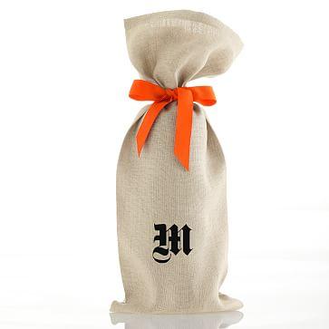 Set of 3 Linen Wine Bags with Grosgrain Tie, Orange with Monogram