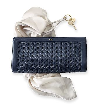 Leather Cane Clutch, Navy