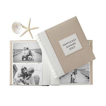 Classic Linen Photo Album, Natural with White