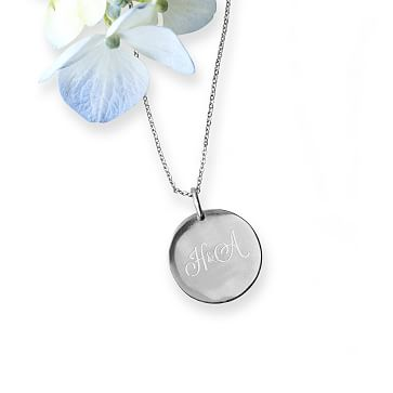 The Legacy Necklace with Charm, 16-18 Inch Chain, Silver Circle, Large, 3 Lines, Personalized