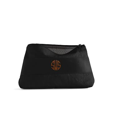 Canvas with Leather Cosmetics Bag, Small, Black