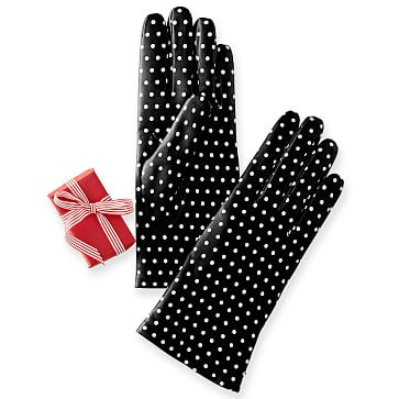 Women's Leather Polka Dot Gloves, Black 6.5-Extra Small