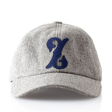 Wool Initial Baseball Ball Cap, Gray, Z