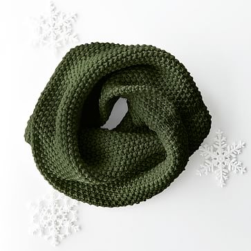 Chunky Knit Twisted Cowl, Racing Green