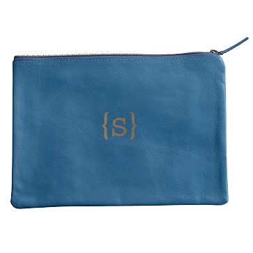 Everyday Leather Zip Pouch, Center Monogram, Porcelain Blue - Personalized