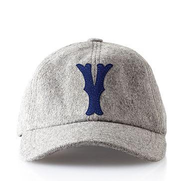 Wool Initial Baseball Ball Cap, Gray, Y