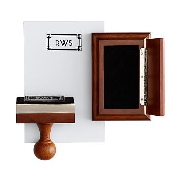 Wooden Stamp and Ink Pad, Rectangle, Black, Trellis