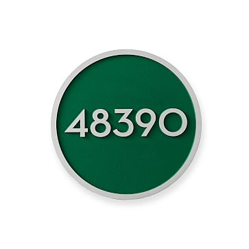 Aluminum Plaque, Solid Circle, 6 inches, Numerical, Racing Green