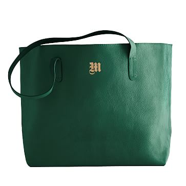 Everyday Leather Tote Bag, Emerald Green - Personalized