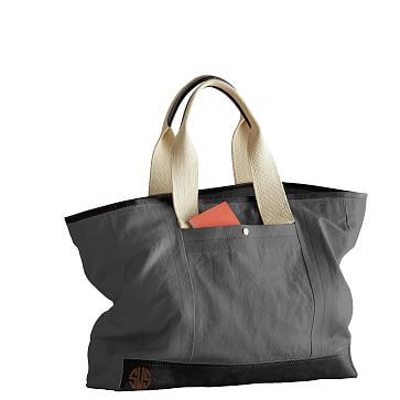 Canvas and Leather Tote, Gray and Black