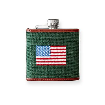 Needlepoint Flask, American Flag, Hunter Green