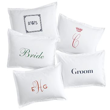 Make Your Mark Cotton Sham, King, Solid White - Personalized