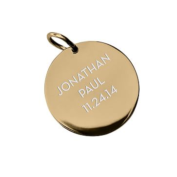 The Legacy Charm, Gold Circle, Large, 3 Lines, Personalized