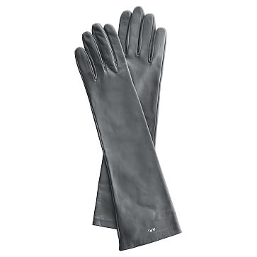 Women's Italian Leather Opera Glove, Size 6.5, Extra-Small, Gray