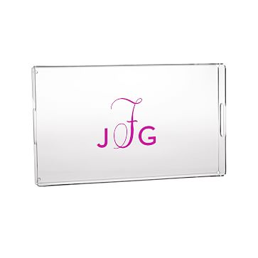 Acrylic Serving Tray, Small, Graphic - Monogrammed