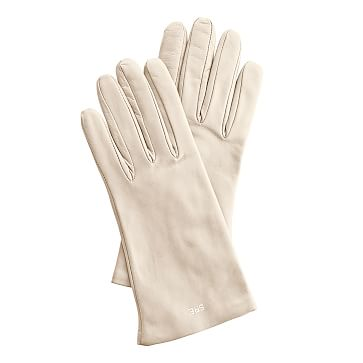 Women's Italian Leather Classic Glove, Size 8, Large, Ivory