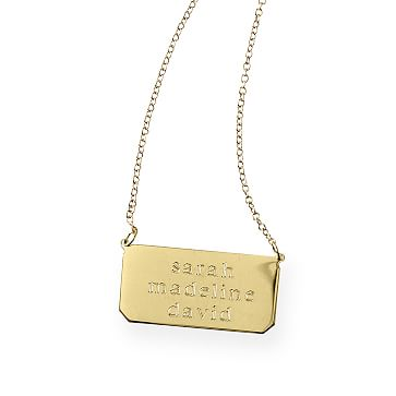 3-Name Sheena Necklace, 18 Karat Gold Plate