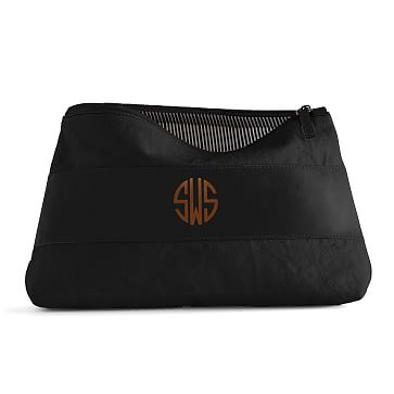 Canvas with Leather Cosmetics Bag, Large, Black