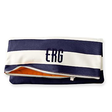 Lido Foldover Clutch, Navy with Orange Lining