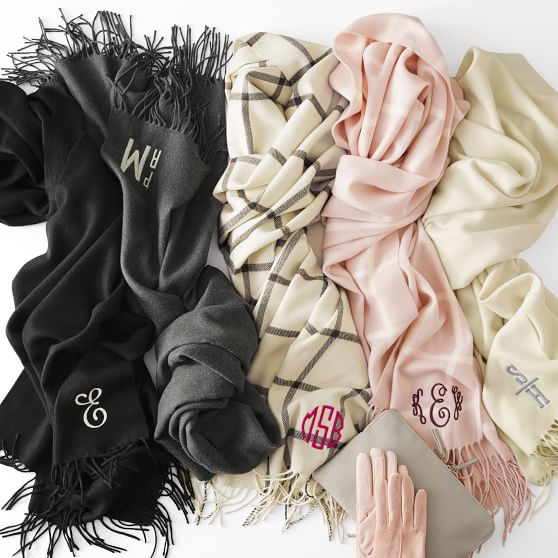 Love these gorgeous monogrammed blanket scarves