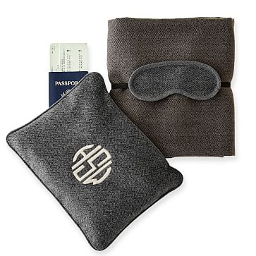 Travel Blanket and Eye Mask with Travel Pouch, Grey Herringbone