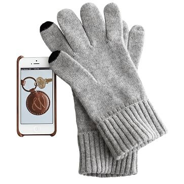 Men's Touch Screen Cashmere Gloves, One Size, Heather Gray