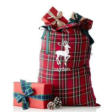 Pattern Santa Sack, Red Preppy Plaid