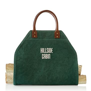 Canvas and Leather Log Holder Racing Green
