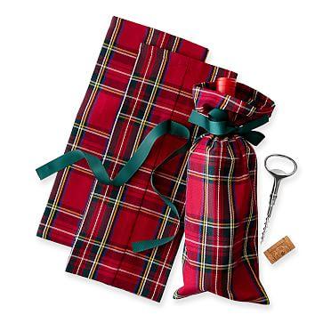 Fabric Wine Bag, Red Preppy, Plaid Set of 3