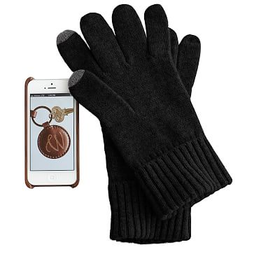 Men's Touch Screen Cashmere Gloves, One Size, Black