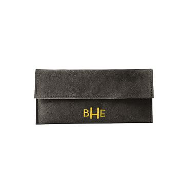 Suede Boho Envelope Clutch: Gray