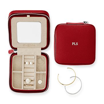 Travel Jewelry Case, Square, Red
